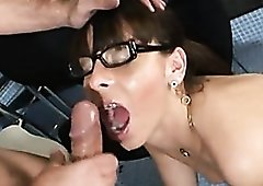 Braces babe in glasses hot fucking and facial
