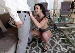 Pretty Jennifer White blows the cock
