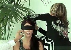 Blindfolded brunette shared by couple