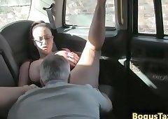 Cocksucking spex amateur fucks cock in taxi