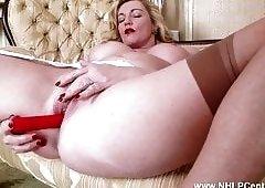 Blonde Milf strips off retro lingerie toys juicy pussy nylon