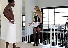 Obedient Aj Applegate pleasuring her black master sucking his rod