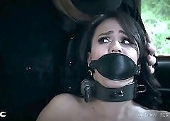 Pale hottie Alex More gets restrained and has to cook meals for her buddy