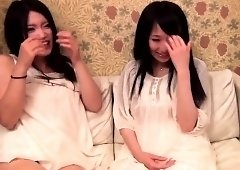Two lovely Oriental teens get their peaches toyed and fucked