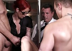 German sexy light haired nympho Kitty Blair gets brutally gangbanged