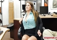 Gorgeous woman screwed by pawnshop owner