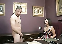 Dark haired white MILF plays with tiny cock of her horny Asian fellow