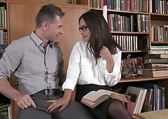 Sexy librarian gets both of her tight holes ravished