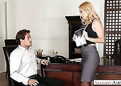 Awesome bootyful blonde office boss Aaliyah Love is eager to ride dick