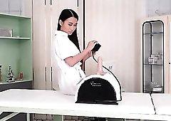 Asian nurse models her gorgeous lingerie