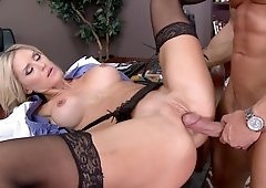Slutty hot doctor Audrey Show fucked on his desk