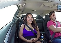 Brunette Candy gets charged with anal for a drive home