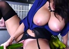 Health inspector Ava Addams hard fucked in the restaurant kitchen by the chef