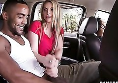 Courtney Cummz strokes big black cock in the car