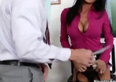 Beauty with hot large breasts is acting in cock sucking porn in office