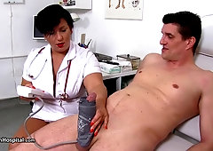 Nasty nurse, Melanie T is rubbing folks in an inappropriate way, but they like it a bunch