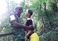 Interracial anal in the woods with a sweet young slut