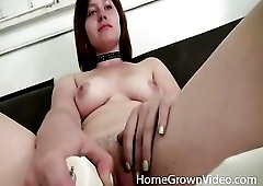 Cute curvy redhead gives BJ to black cock
