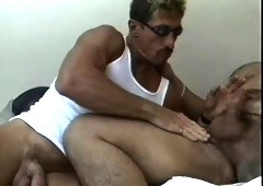 Rugged and hung mature man jacks off and cums