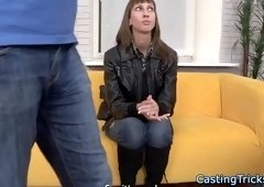 Casting beauty banged after sucking dick
